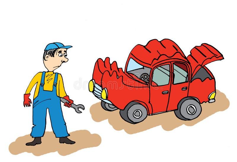Auto mechanik z łamanym samochodem ilustracji