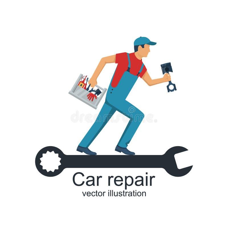 Auto mechanik z toolbox i dodatkowe części dla naprawy samochody ilustracji