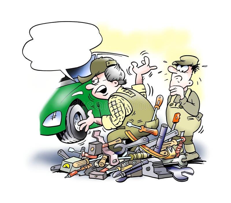 Auto mechanik zmienia samochodowego silnika royalty ilustracja