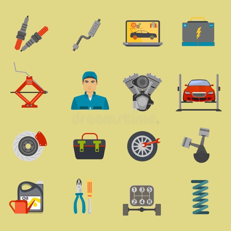 Auto mechanika usługowego mieszkania ikony samochodowy remontowy set royalty ilustracja