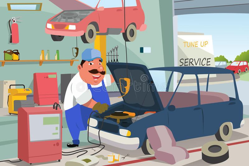 Auto Mechanisch Fixing een Auto in de Garage stock illustratie