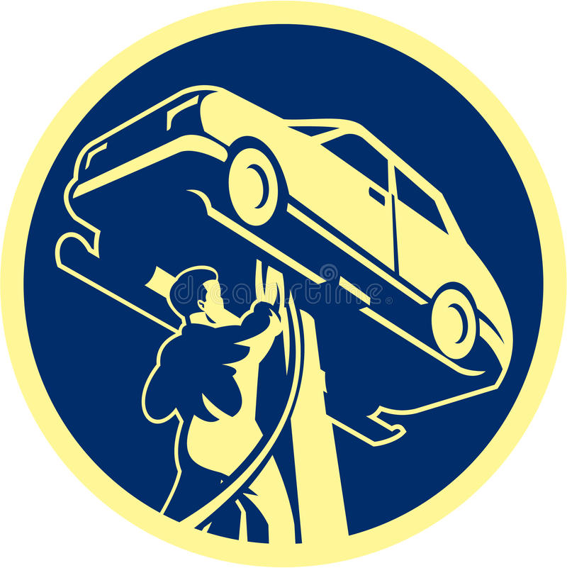 Auto Mechanisch Retro Automobile Car Repair royalty-vrije illustratie