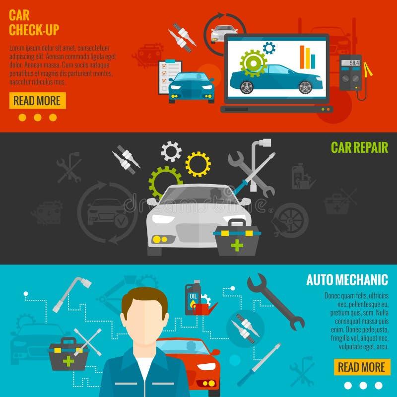 Auto mekaniker Banner Set vektor illustrationer