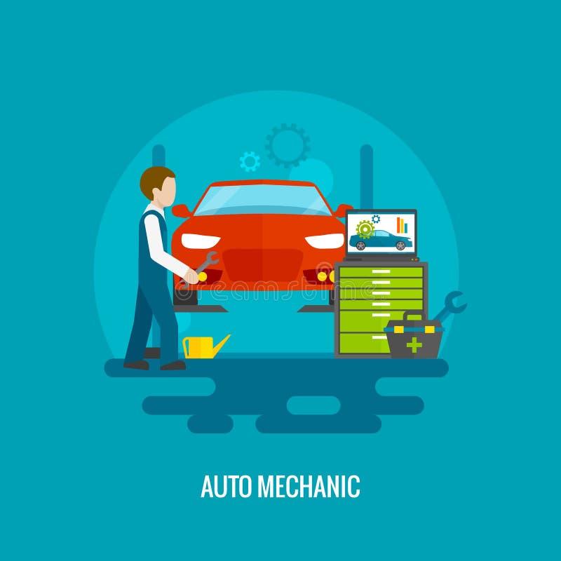 Auto mekaniker Flat stock illustrationer