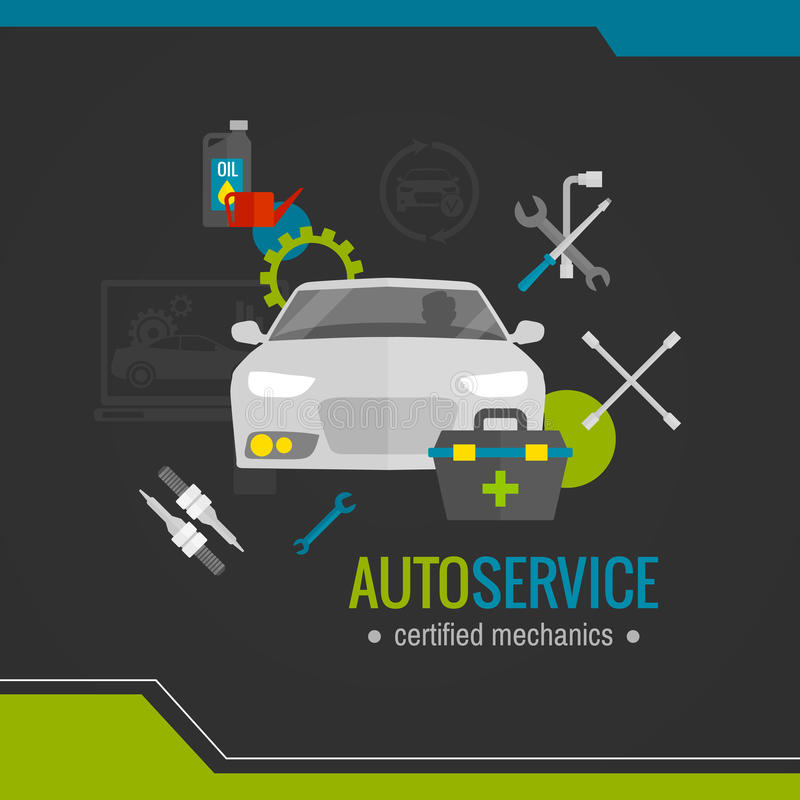 Auto mekaniker Flat Icon royaltyfri illustrationer