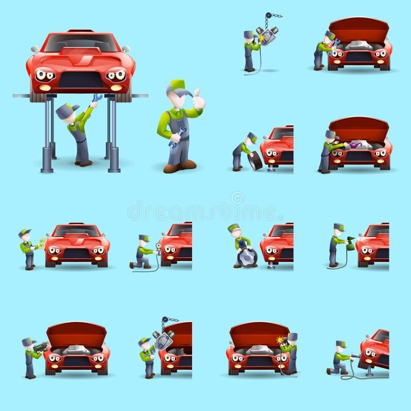 Auto mekaniker Flat Icons Set stock illustrationer