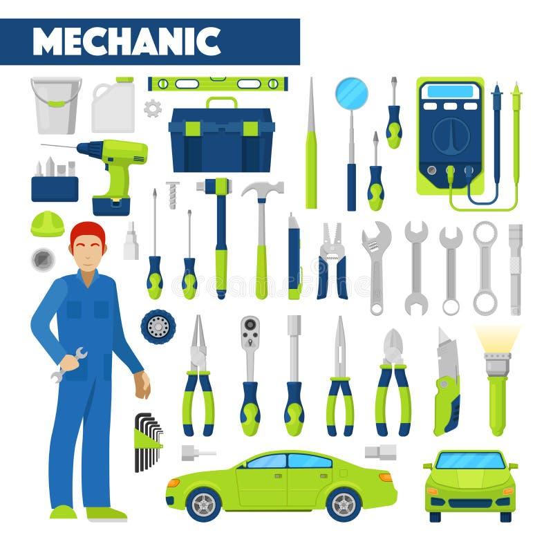 Auto mekaniker Icons Set för yrke med hjälpmedel för bilreparationer royaltyfri illustrationer