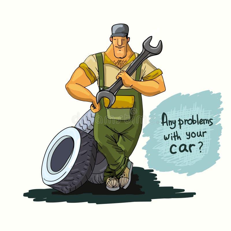 Auto mekaniker med skiftnyckeln och gummihjul royaltyfri illustrationer