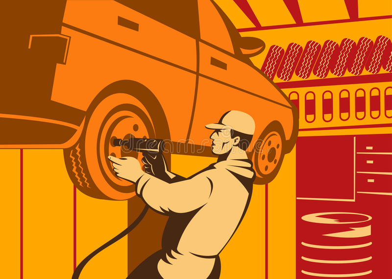auto mekanikerarbete vektor illustrationer