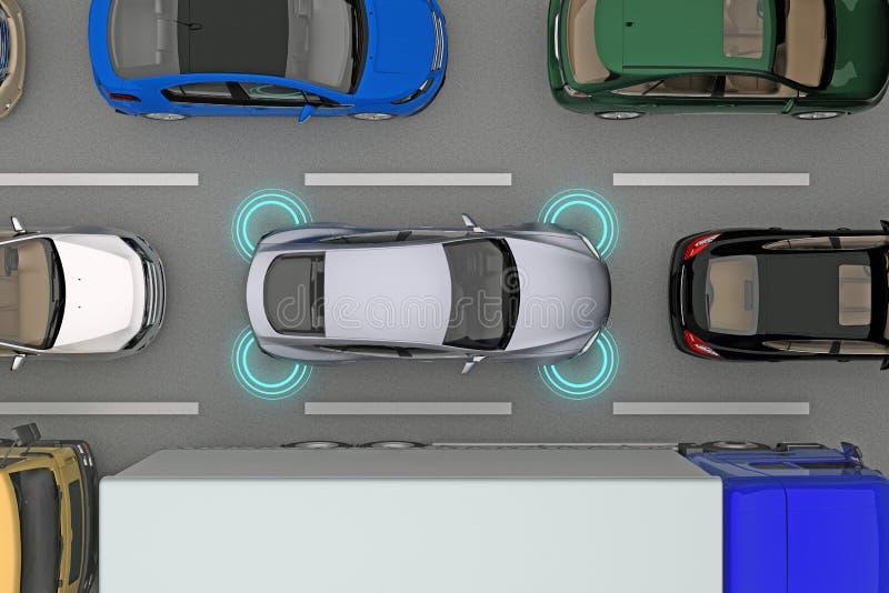 Auto met afstandssensoren in stroom vector illustratie