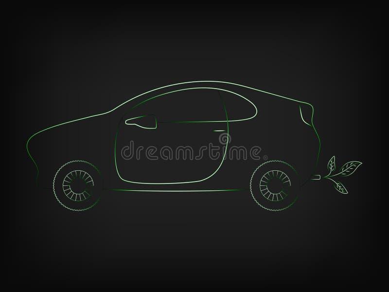 Auto met bladeren die uit de uitlaat komen royalty-vrije illustratie
