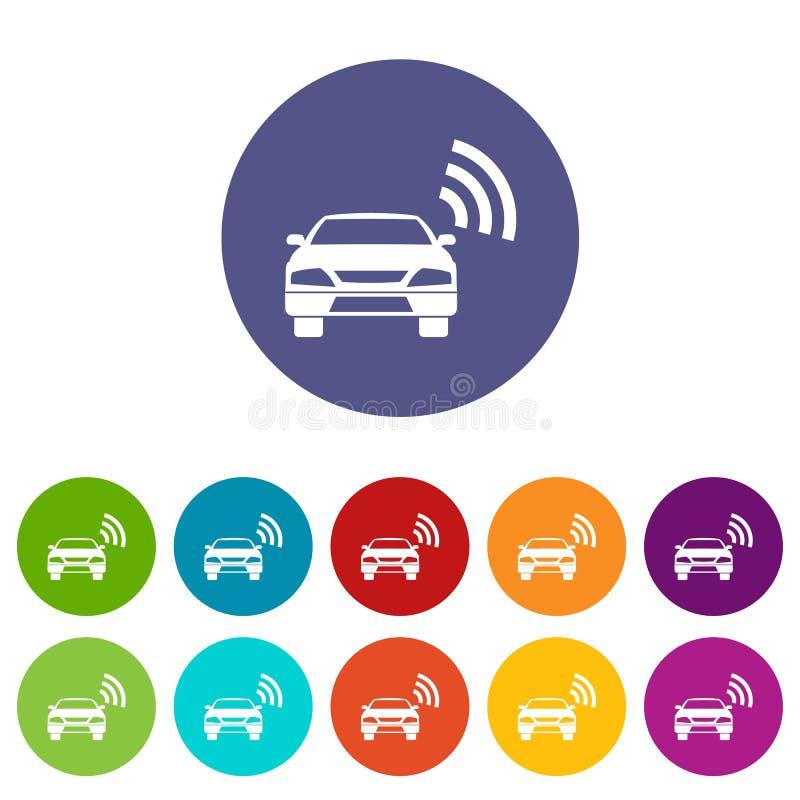 Auto met de vastgestelde pictogrammen van het wifiteken stock illustratie