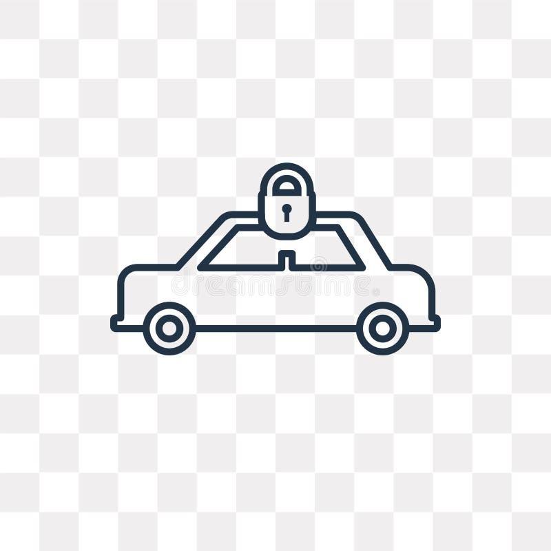Auto met Hangslot vectordiepictogram op transparante achtergrond wordt geïsoleerd, royalty-vrije illustratie