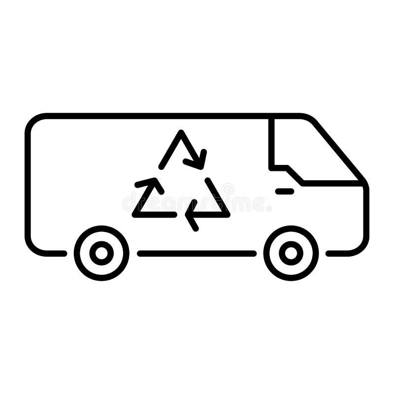 Auto met het kringlooppictogram van de teken dunne lijn Recycleer teken op auto vectordieillustratie op wit wordt geïsoleerd Recy vector illustratie