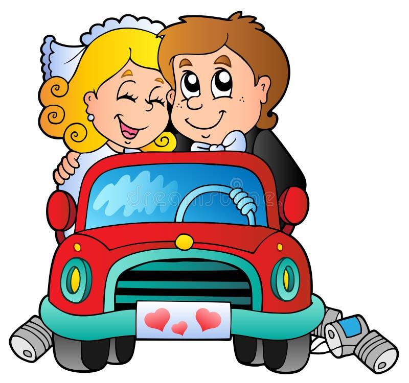 Auto met huwelijkspaar stock illustratie