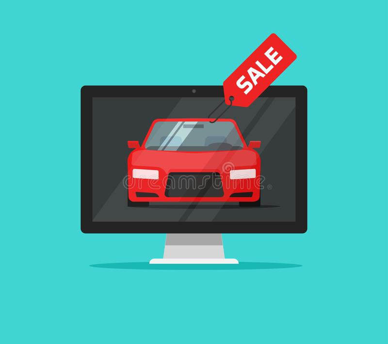Auto met verkoopkenteken in de vectorillustratie van de computermonitor, de vlakke pagina van de beeldverhaal automobiele website royalty-vrije illustratie