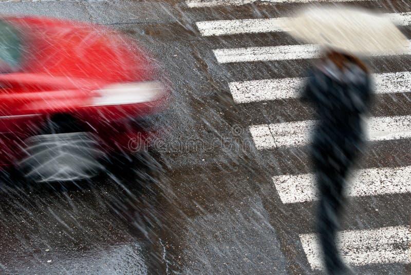 Auto Mit Fußgänger Stockbilder