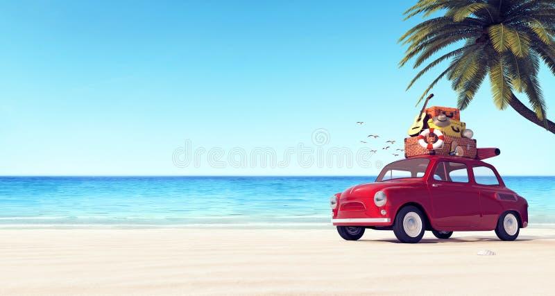 Auto mit Gepäck auf dem Dach auf dem Strand bereit zu den Sommerferien stock abbildung