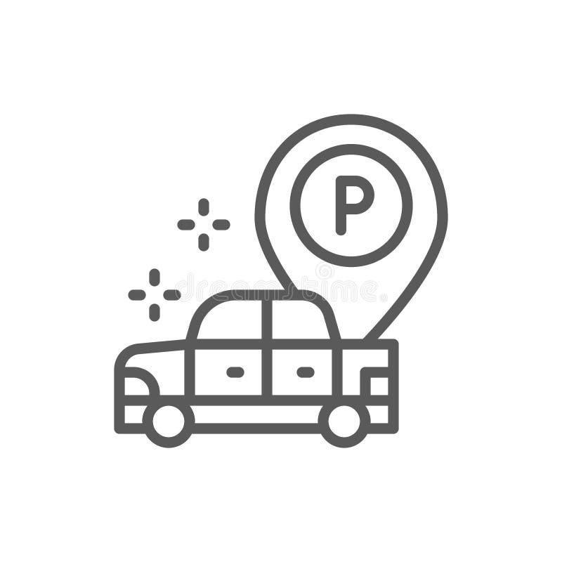Auto mit gro?er parkender Zeigerlinie Ikone stock abbildung