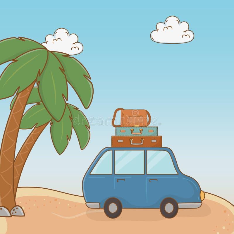 Auto mit Koffern reisen Ferienszene lizenzfreie abbildung