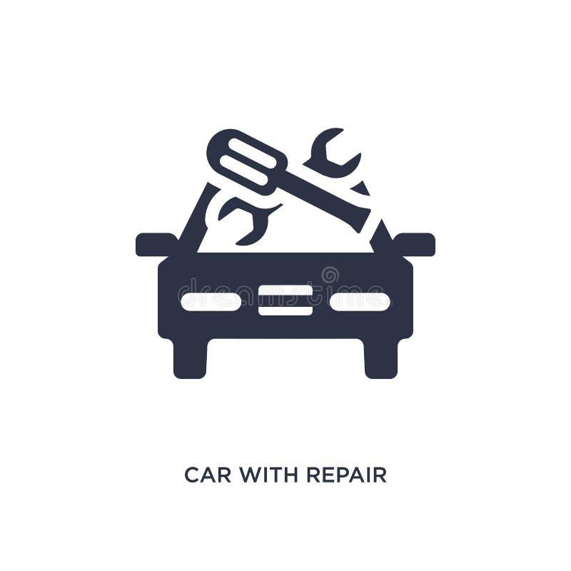 Auto mit Reparaturausrüstungsikone auf weißem Hintergrund Einfache Elementillustration von mechanicons Konzept lizenzfreie abbildung