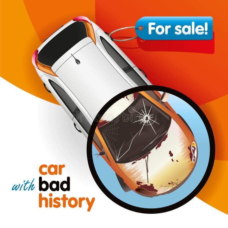 Auto mit schlechter Geschichte lizenzfreie abbildung