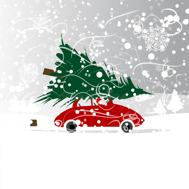 Auto mit Weihnachtsbaum, Winterblizzard für Ihr lizenzfreie abbildung