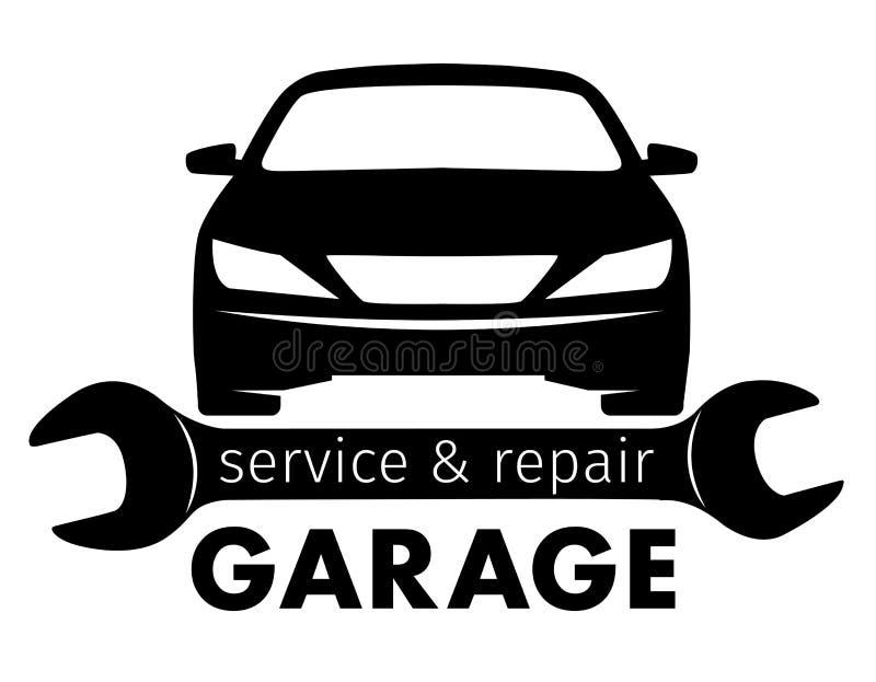 Auto mitt, garageservice och reparationslogo, vektormall stock illustrationer