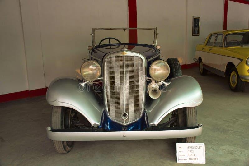 AUTO MUSEU do CARRO do VINTAGE do MUNDO, AHMEDABAD, GUJARAT, ÍNDIA, o 13 de janeiro de 2018 Chevrolet 1933 imagem de stock