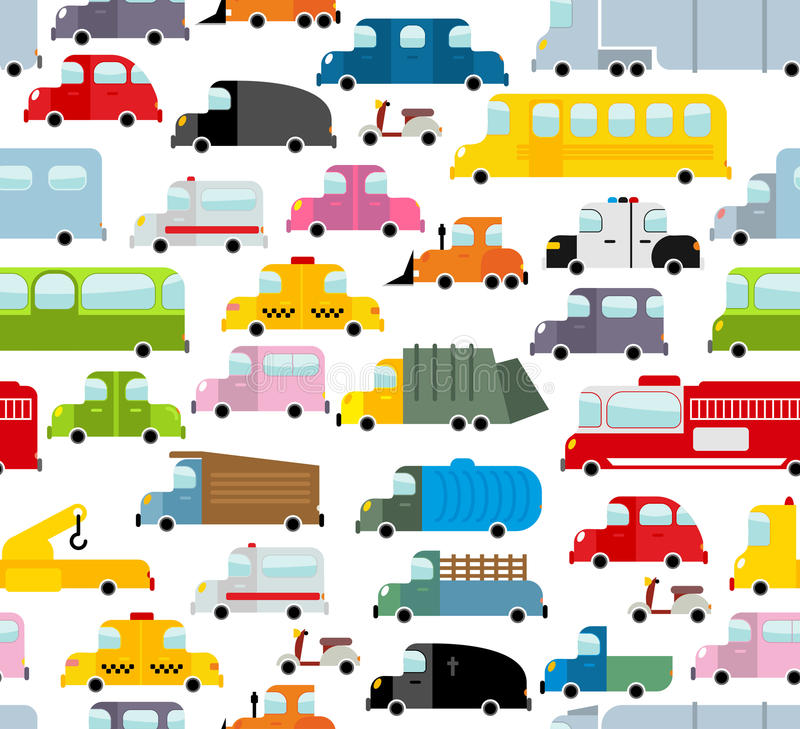 Auto naadloos patroon Achtergrond van vervoer in beeldverhaalstijl royalty-vrije stock afbeeldingen