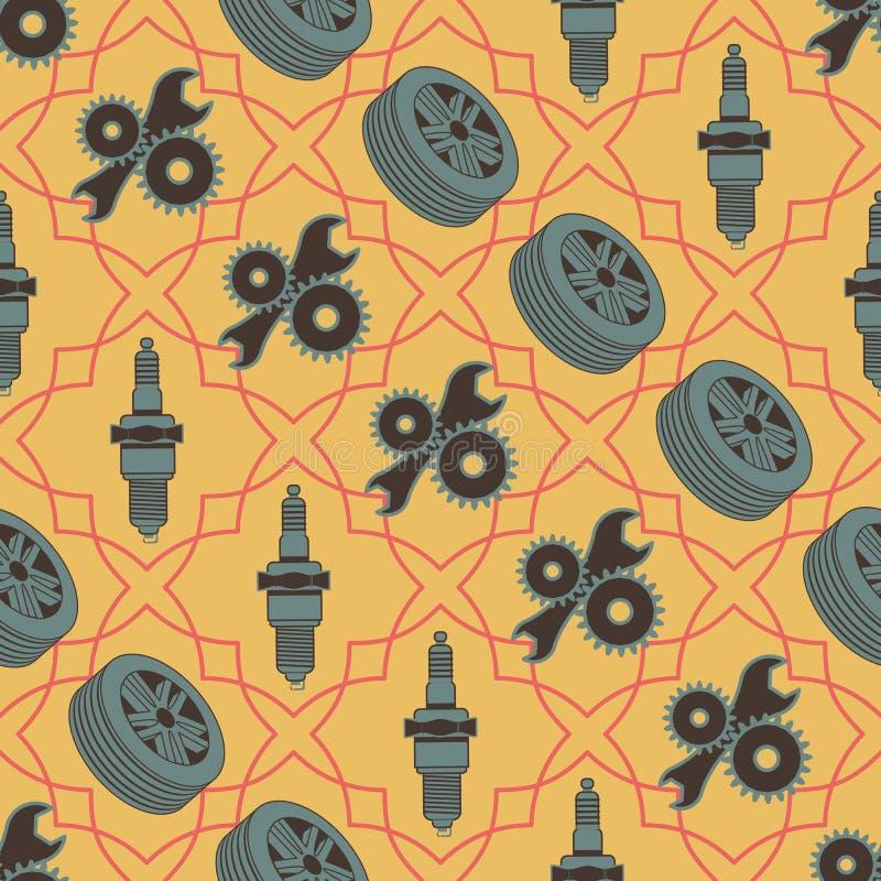 Auto naadloos patroon van de bougiewielen en hulpmiddelen van motorvoertuigdelen vector illustratie