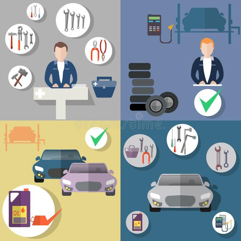 Auto naprawa, opony usługa, diagnostycy pojazd, płaski ikona set royalty ilustracja