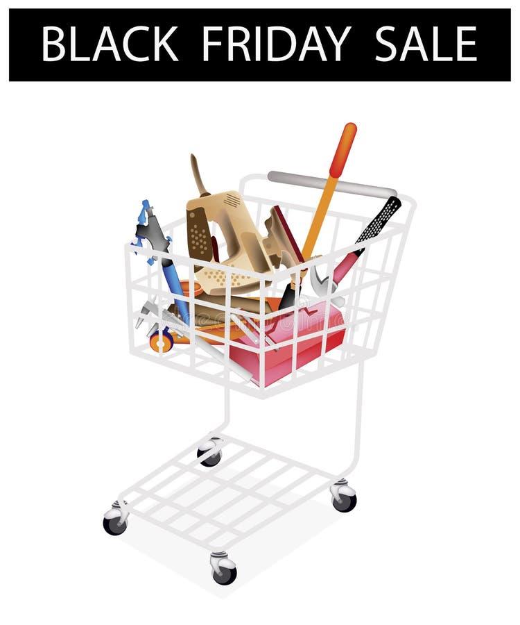 Auto naprawy Narzędziowych zestawów Black Friday wózek na zakupy ilustracji