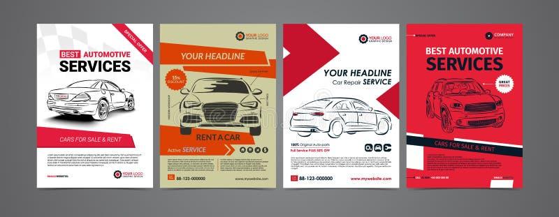 Auto naprawy usługa biznesu układu szablony ustawiają, samochody dla sprzedaży royalty ilustracja