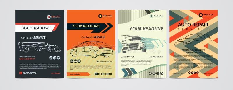 Auto naprawy usługa biznesu układu szablony ustawiający, samochody dla sprzedaży & czynsz broszurka, mockup ulotka ilustracja wektor