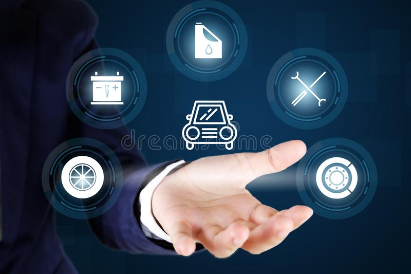 Auto, omhoog, werktuigkundige, pictogram, post, garage, de dienst, reparatie, achtergrond, voertuig, auto, controle, concept, hul royalty-vrije stock foto's