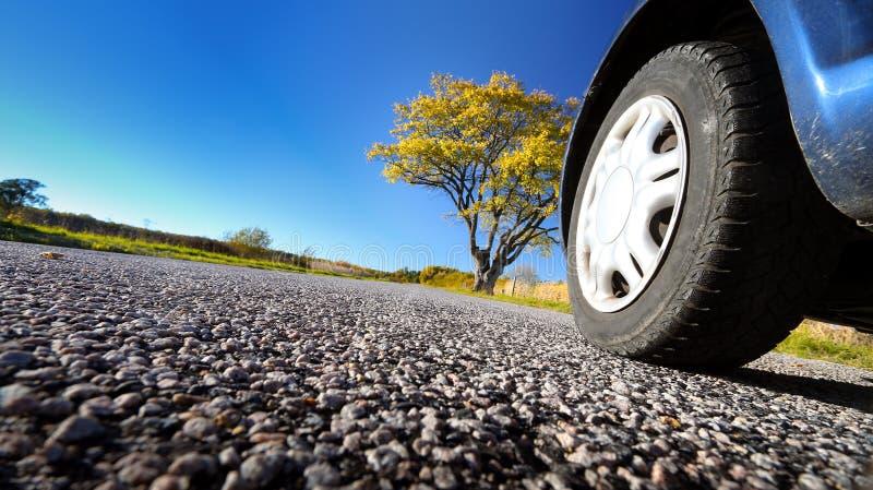Auto op asfaltweg in herfstavond royalty-vrije stock fotografie