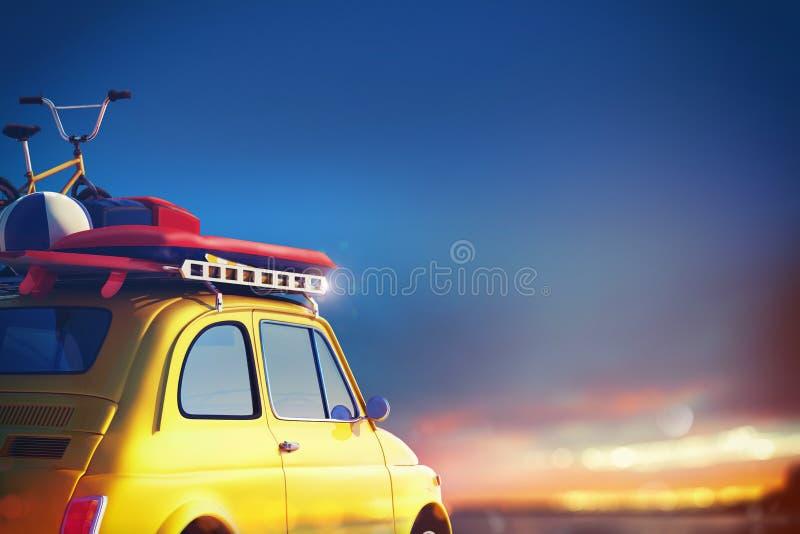 Auto op de weg klaar voor de zomervakantie het 3d teruggeven royalty-vrije illustratie