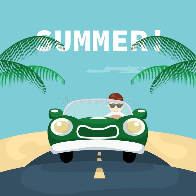 Auto op vakantieweg aan het strand vector illustratie