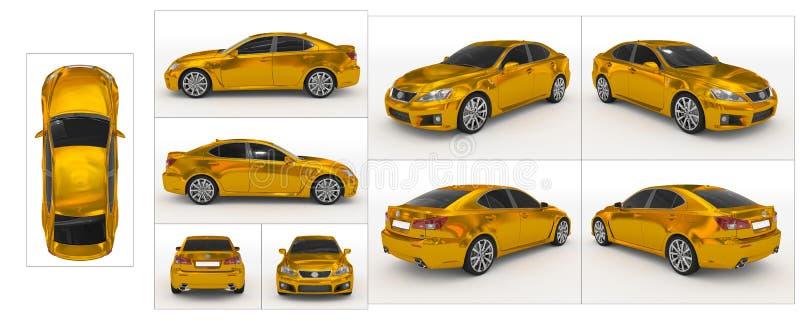 Auto op wit - gouden, gekleurd glas wordt geïsoleerd - inzameling die van allen stock illustratie