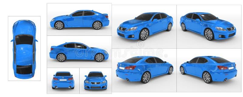 Auto op wit wordt geïsoleerd - blauwe verf, gekleurd glas - inzameling die van stock illustratie