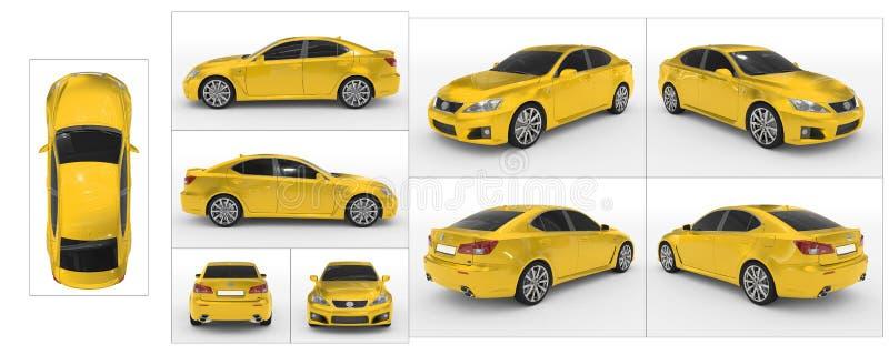 Auto op wit wordt geïsoleerd - gele verf, gekleurd glas - inzameling die vector illustratie