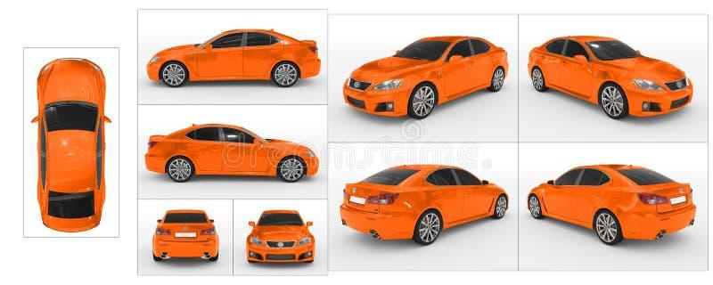 Auto op wit wordt geïsoleerd - oranje verf, gekleurd glas - inzameling die royalty-vrije illustratie