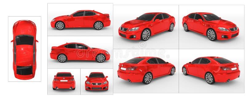 Auto op wit wordt geïsoleerd - rode verf, gekleurd glas - inzameling die van royalty-vrije illustratie