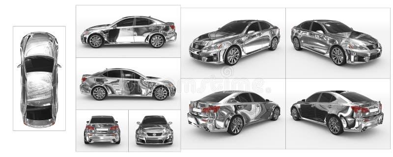 Auto op wit wordt geïsoleerd - verchroom, gekleurd glas - inzameling die van allen vector illustratie