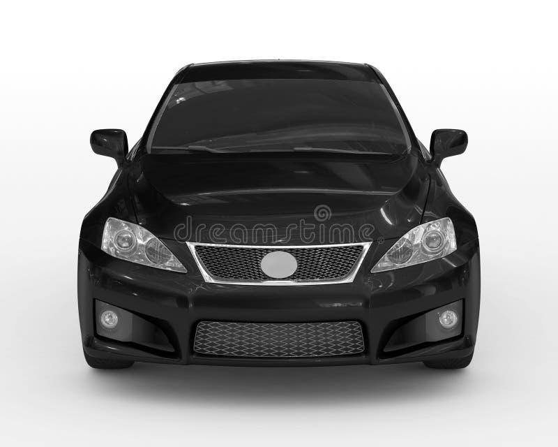 Auto op wit wordt geïsoleerd - zwarte verf, gekleurd glas - vooraanzicht dat vector illustratie