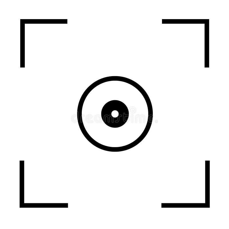 Auto ostrości kamery ikona na białym tle Mieszkanie styl ilustracji