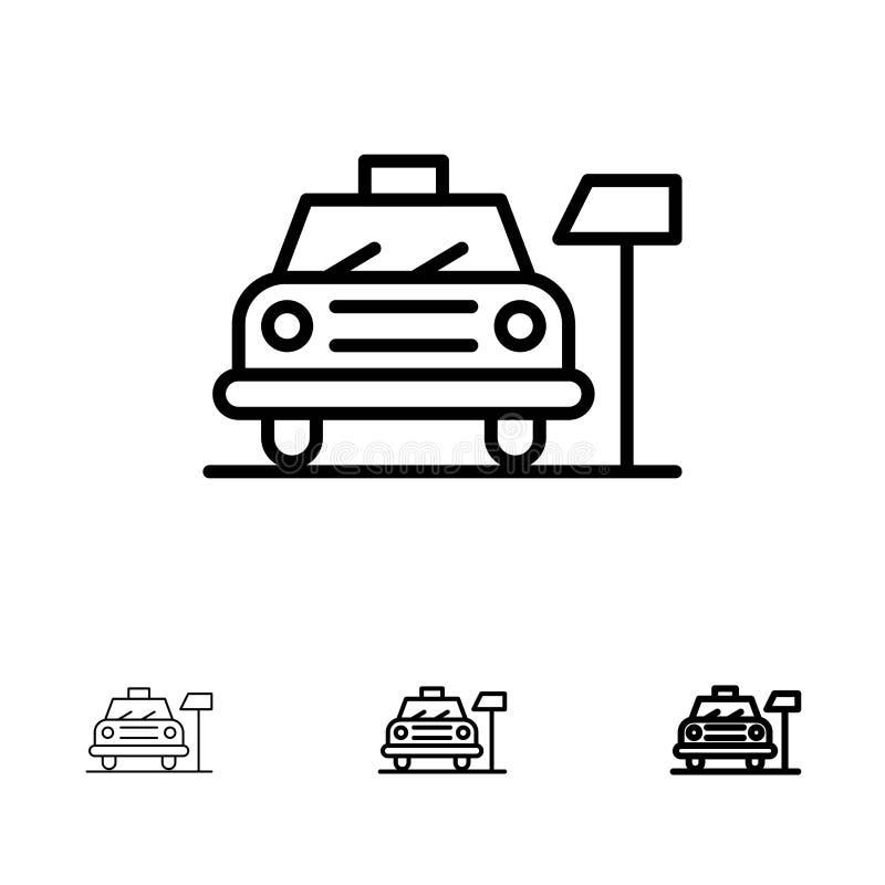 Auto, Parkeren, Hotel, het pictogramreeks van de de Dienst Gewaagde en dunne zwarte lijn royalty-vrije illustratie