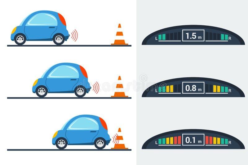 Auto parktronic infographic - drie posities vector illustratie