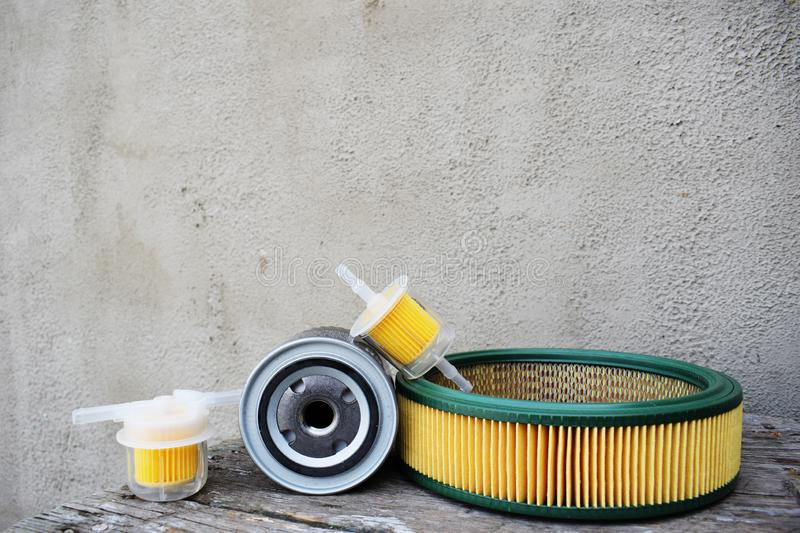 Auto parts accessories: oil , fuel or air filter for engine car stock images